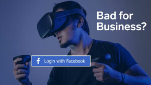 In the background a man with vr glasses and in the foreground a login with facebook button.
