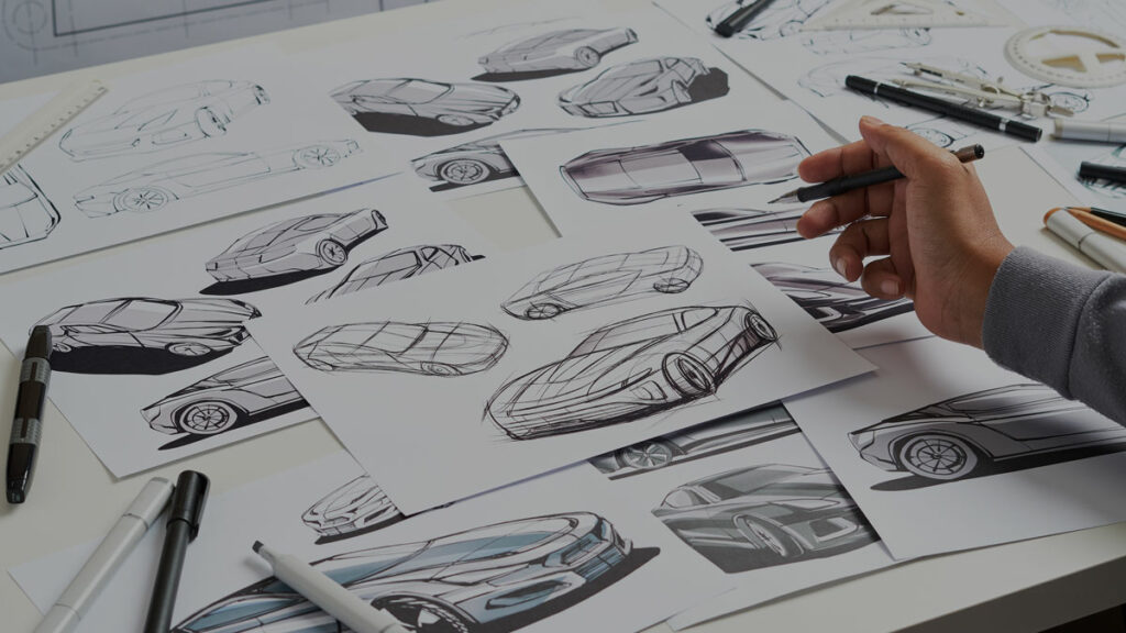 A designer working from home and creates design sketches.