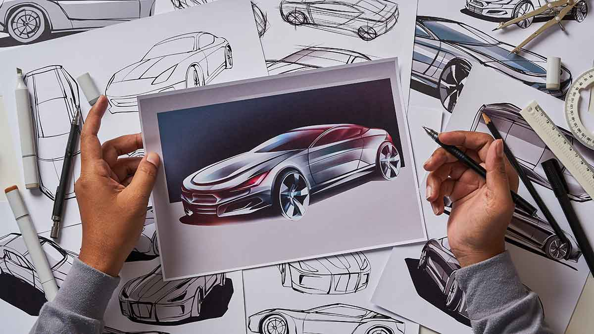 Concept design of a car on paper