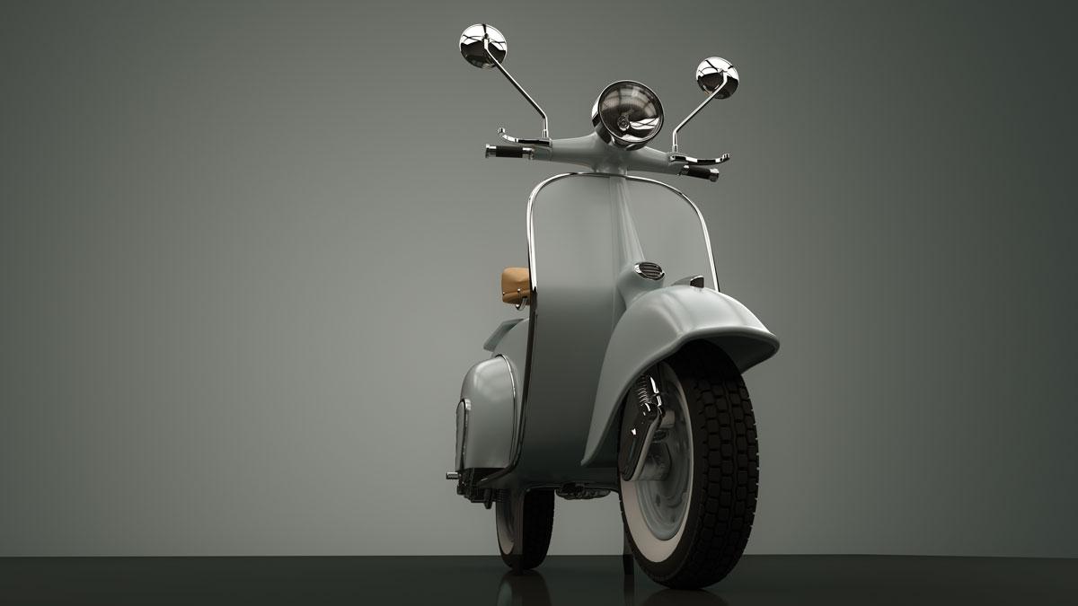 The design classic vespa scooter.