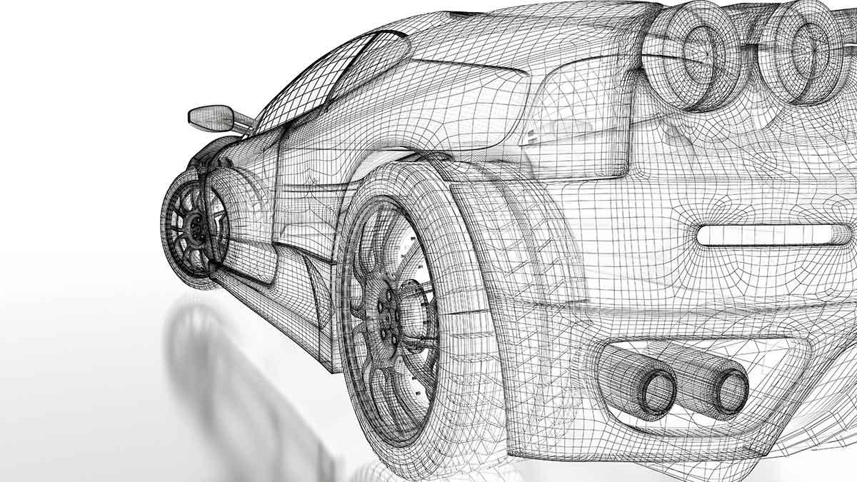 3D rendering car